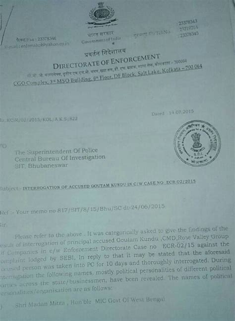 Letter Kolkata Valley Scam Ed Letter To Cbi In Valley Was Forged Sources