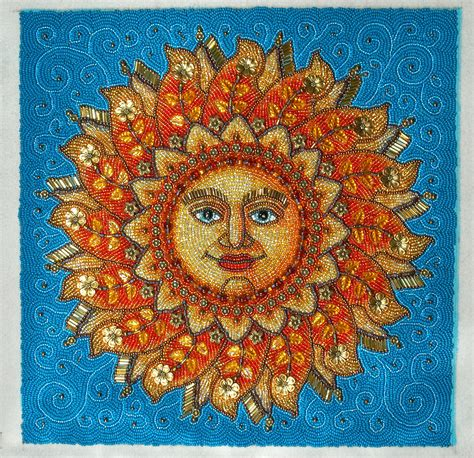 Sun Beaded Embroidery Picture