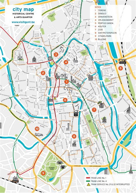 city map with attractions ghent belgium about interesting places