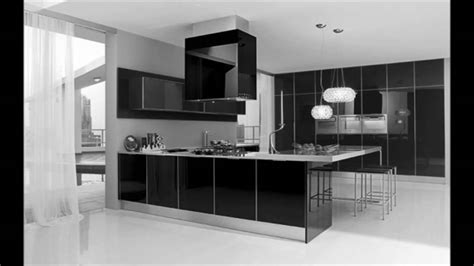 ultra modern black  white kitchen decorating interior