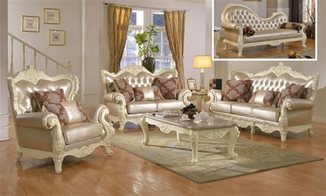 Traditional Living Room Set W Pearl Bonded Leather And White Vintage Living Room Furniture