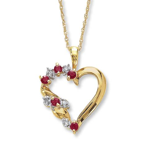 ruby gold necklace ruby necklace accents 10k yellow gold