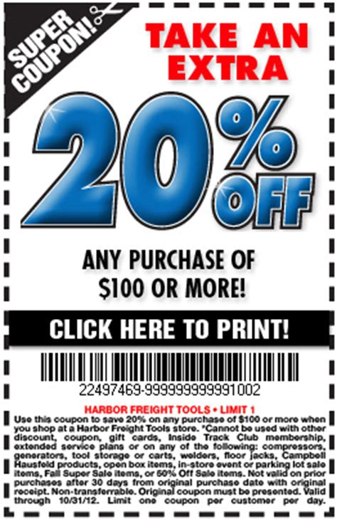 harbor freight coupons 20 off printable harbor freight tools 20 off 100 printable coupon