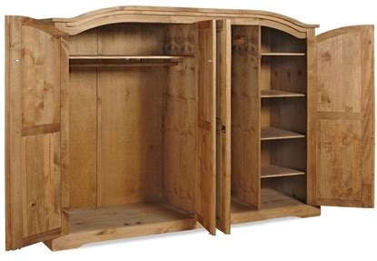 Corona Mexican Pine 4 Door Wardrobe by Mercers Furniture 174 Corona Mexican Pine 4 Door Arch Top