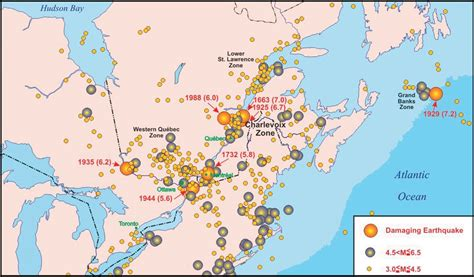 earthquake zones in canada earthquakes of the charlevoix seismic zone qu 233 bec cseg