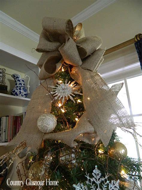xmas trees stover country burlap tree bow merry navidad arpillera y cintas
