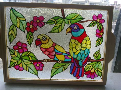 the gallery for gt glass painting designs for home