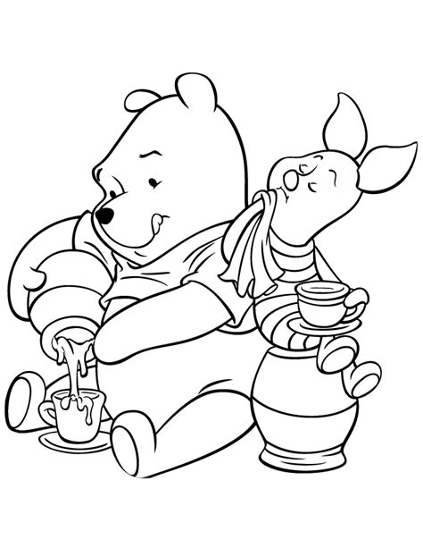 tea time winnie the pooh and piglet coloring page h m