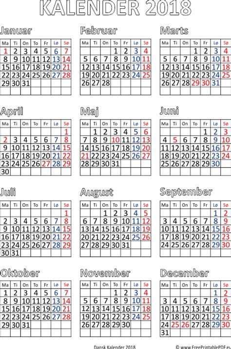 Kalender 2o18 Kalender 2018 Med Helligdage Gratis Printable Pdf