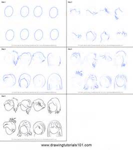 How To Draw A Blueprint How To Draw Anime Hair Female Printable Step By Step