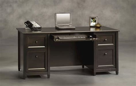 sauder edge water executive desk estate black finish sauder edge water estate black executive desk at menards 174