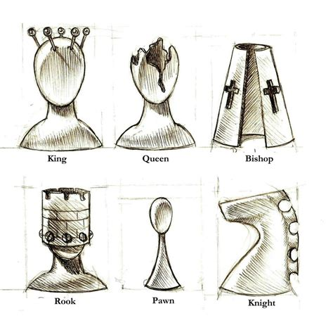 chess piece designs patch together designs surreal chess pieces