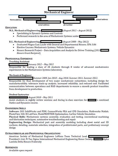 mechanical engineering resume template 75 images engineering