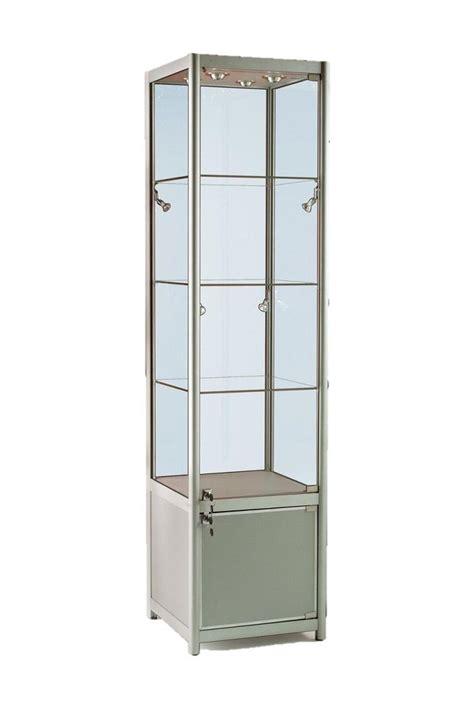 Single Glass Door Cabinet 500mm Aluminium Single Door Glass Display Cabinet Lockable Storage