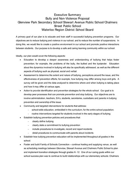 proposal format executive summary 8 best images of executive summary proposal sle
