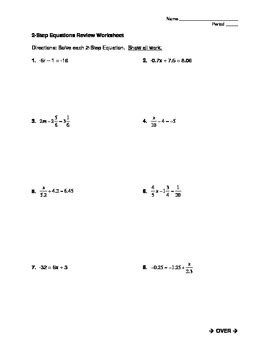 Solving Two Step Equations Worksheets by Solving Two Step Equations Worksheet By Mrs J S Math