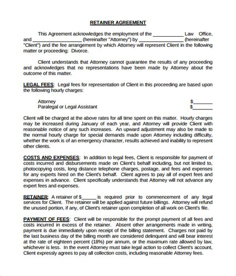 fee agreement template sle retainer agreement 6 exle format