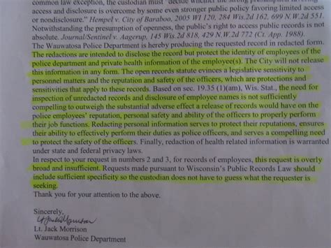 Freedom Of Information Officer Cover Letter by Wisconsin Department Intimidated Officers Into Silence By Jeopardizing Safety The Fifth