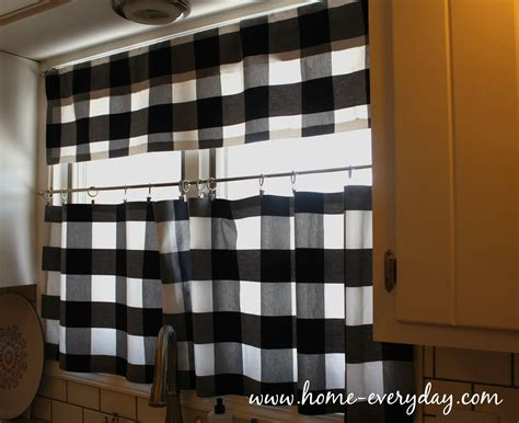 kitchen curtains black and white buffalo check is my new obsession or how i made no sew