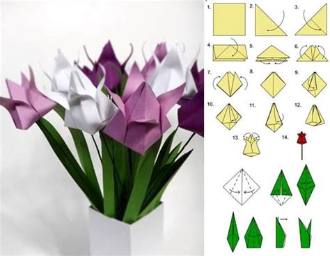 Paper Tulip Origami - how to diy origami tulip