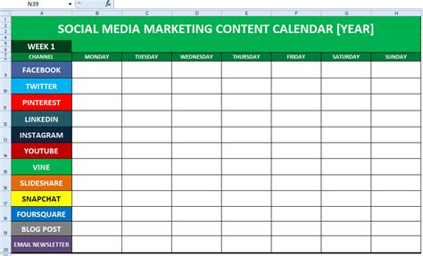 Social Media Schedule Template social media content calendar template excel marketing