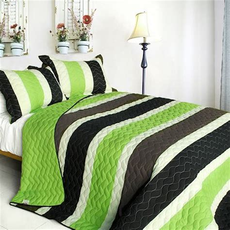 Green And Black Bedding Sets Green Black Brown Striped Boy Bedding Modern Quilt Set Oversized Bedspread