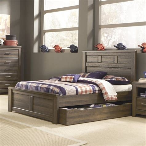 signature design  ashley furniture juararo panel bed  trundle  dark drown  patb mkit