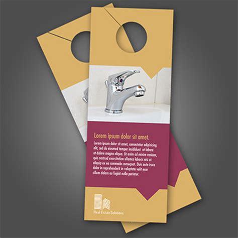 door hangers printed in color on 16pt card stock
