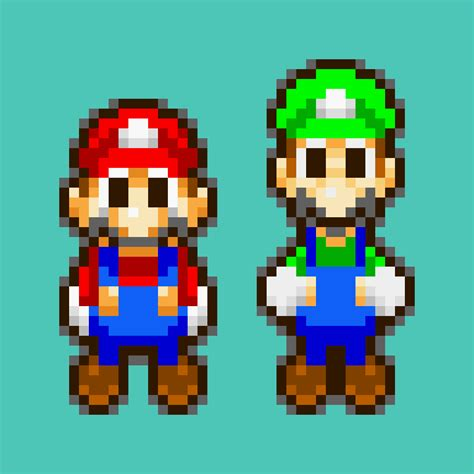 famous characters in pixel art mario and luigi no one ever posted a pixel art with the mario luigi