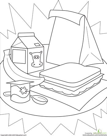 school lunch coloring page color the healthy lunch worksheets and school
