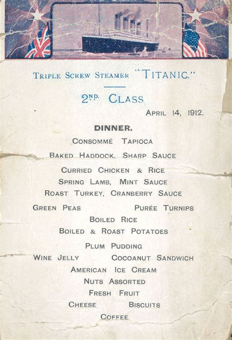 Titanic Second Class Menu | titanic food menus for 1st 2nd and 3rd class passengers