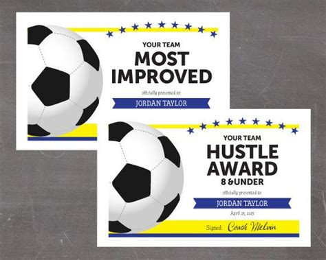 template soccer certificate template for word art award free
