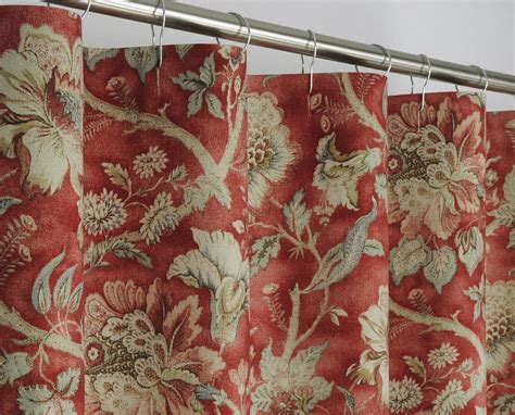 red floral drapes 84 long traditional red floral shower curtain 72 x by