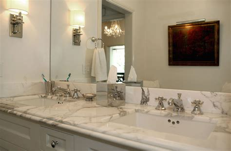 marble countertop for bathroom calcutta marble countertops contemporary bathroom jeneration interiors