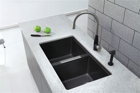black undermount kitchen sink kraus kgu 434b undermount double bowl black onyx granite