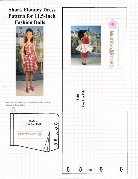 sewing pattern words flouncy dresspattern for fashiondolls is 14 on my top