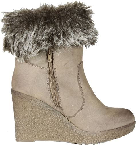 enigma womens bc599 wedge boots with fur trim ebay