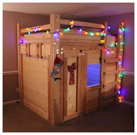 bed fort built  queen loft bed plans