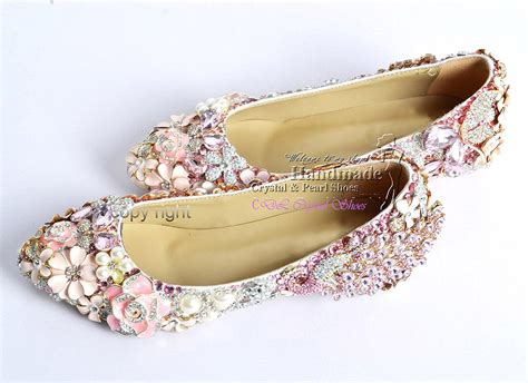 flat bridal shoes with bling flat wedding shoesnew customized handmade pink