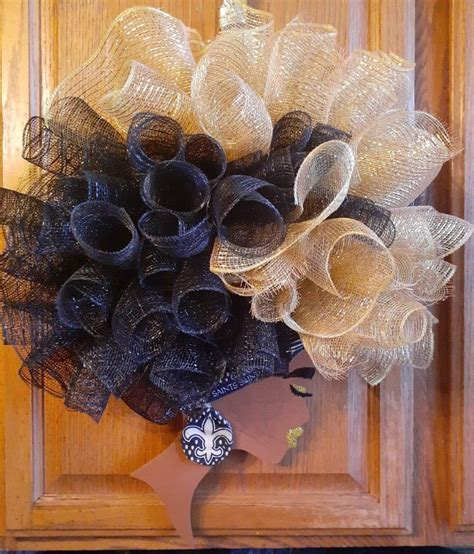 orleans saints diva wreath girl wreath black girl