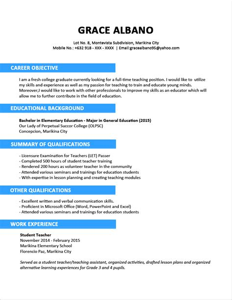 a resume format sle resume format for fresh graduates two page format jobstreet philippines