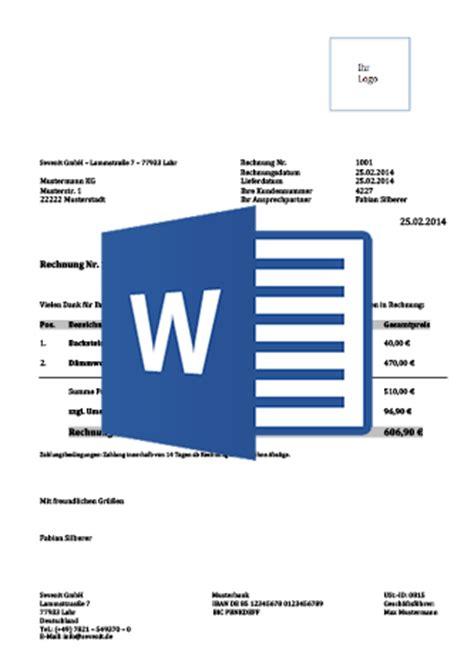 Vorlage Rechnung In Word Rechnungsvorlage F 252 R Word Excel Downloaden Kostenlos