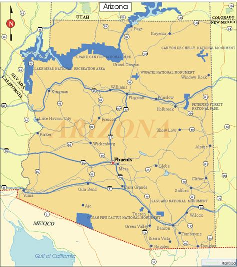 arizona state on us map printable us state maps printable state maps