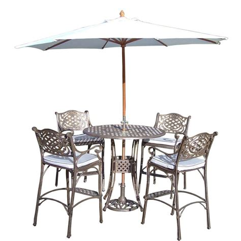 Patio Bar Height Dining Set Oakland Living Elite Cast Aluminum 7 Patio Bar Height Dining Set With Oatmeal