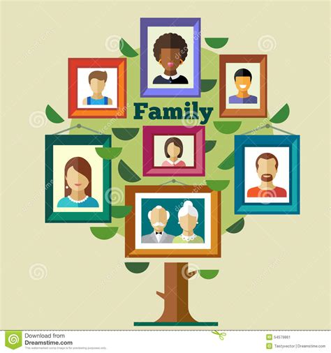 relationship traditions family tree relationships and traditions stock vector