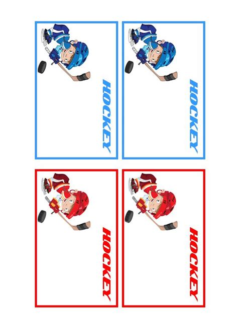 hockey thank you card template customize your free printable hockey players name tags