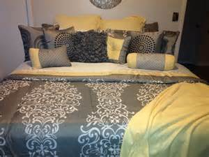 Teal Yellow And Gray Bedroom - my yellow and gray bedding home pinterest gray bedding love this and yellow and gray