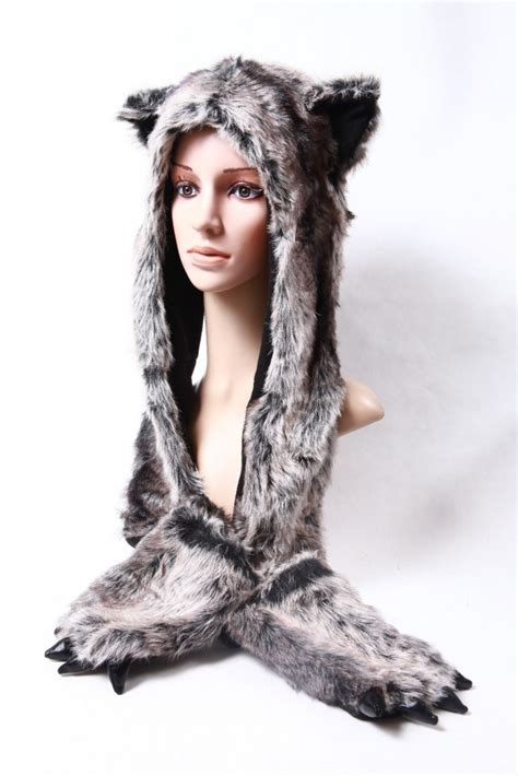 plush faux fur hat and scarf snood mitten animal paws