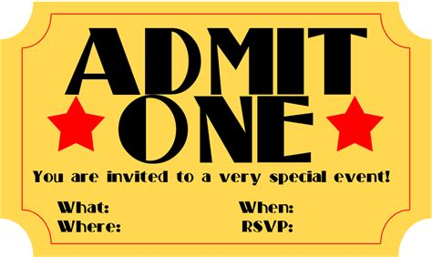 ticket invite template free free printable invitation ticket stub frugalful
