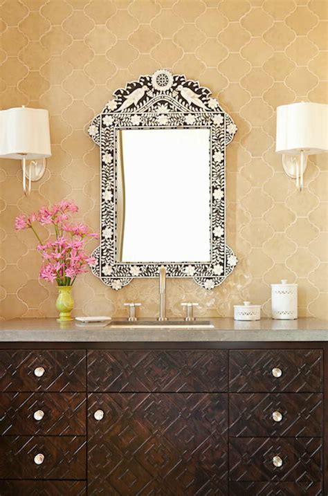 moroccan bathroom vanity moroccan tile backsplash mediterranean bathroom taylor borsari